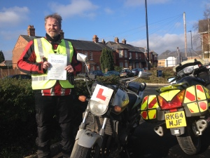 Steve Beverley came from Essex to pass his motorcycle Test on the Isle of Wight